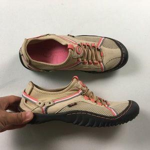 J-41 Womens Tan Pink Adventure Slip on Hiking Walk